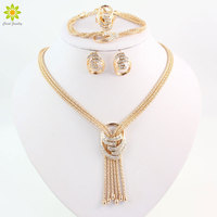 Latest Fashion African Beads Jewelry Sets Wedding Costume Women Party Gold Plated Crystal Necklace Bangle Earring
