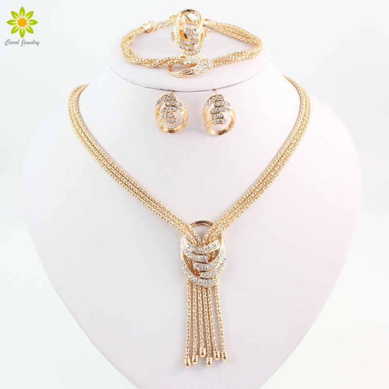 Mais recente moda africano contas conjuntos de jóias traje de casamento feminino festa ouro cor cristal colar pulseira brinco anel