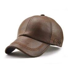 79d0a99c0e8f6 Sólido invierno Pu cuero gorras de béisbol marca Snapback sombrero hueso  Masculino sombreros cuero de alta calidad para hombres