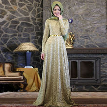 Lace Long Sleeve Hijab Muslim Evening Dress Arabic Style Formal Evening Gown with Gold Metal Belt robe de soiree