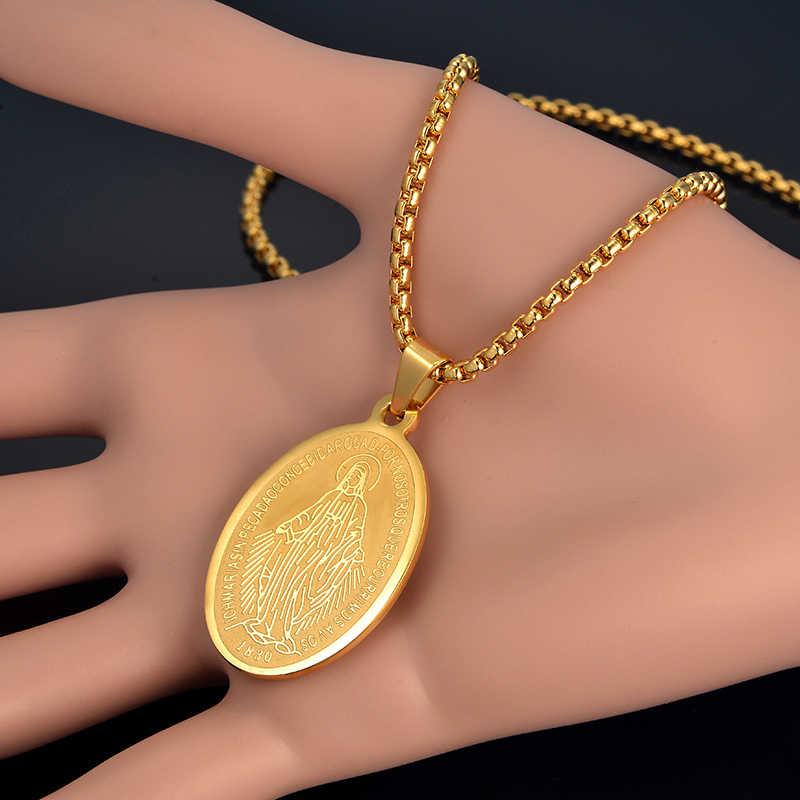 Ожерелье Девы Марии модный золотого цвета наша Леди женщин/мужчин ювелирные изделия оптовая продажа колье христианская Золотая подвеска в виде Креста ожерелье s