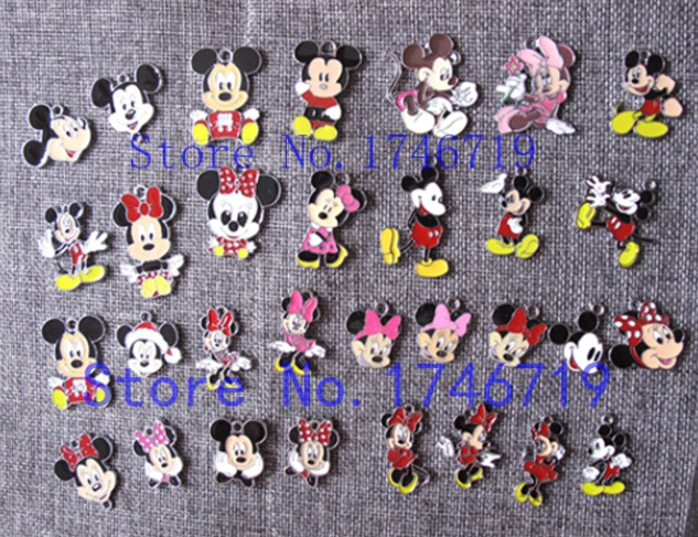 Hot Sale 10pcs Minnie Mickey  Metal Charms DIY Jewelry Making  Mobile Phone Accessories For Best Gift D-152