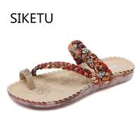 SIKETU yeni ulusal rüzgar sandalet kadınlar bohemian elmas Düz Ayakkabı Çevirme Ayakkabı Kadın Büyük Boy 35-41