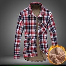 2016 neue Stil Marke herren Winter Lässige Mode Männer Lange hülse Shirt Plus Dicke Samt Warmen Shirts Plaid Taschen Hohe qualität