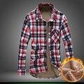 2016 Novo Estilo de Inverno dos homens da Marca de Moda Casual Homens Longo manga Camisas Xadrez Bolso da Camisa Mais Grossa de Veludo Quente de Alta qualidade