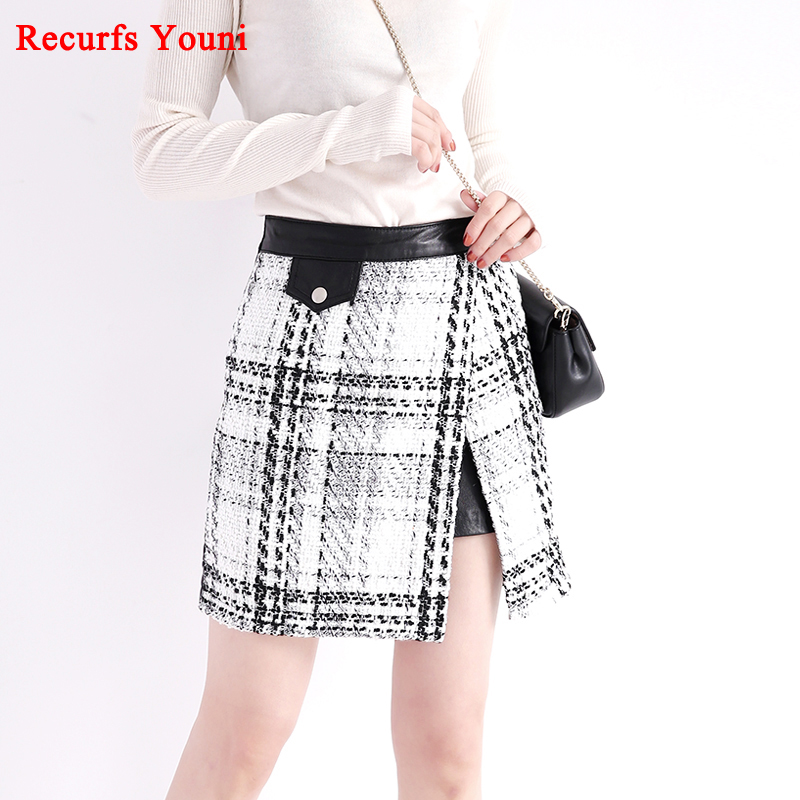 RYS8303 Woman 018 Spring A Line Black White Plaid Houndstooth Genuine Leather Skirt Mujer Cloth Saia Mini Open Fork Wrap Faldas