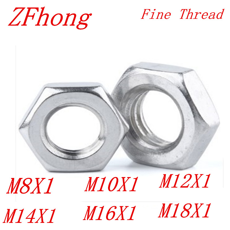 304 M10-10mm HALF NUTS THIN HALF LOCK NUTS STAINLESS STEEL A2 DIN 439