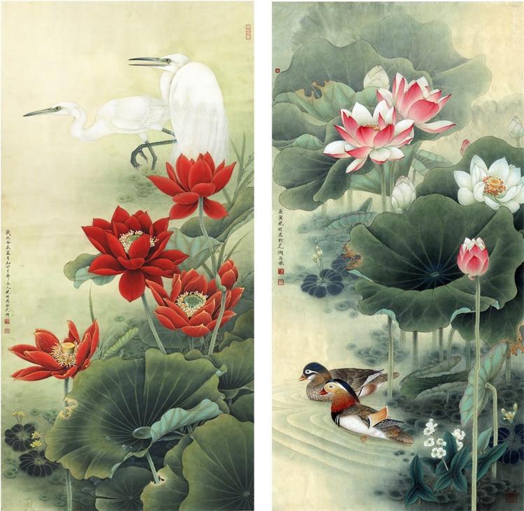 Pastorale traditionnelle chinoise style peinture sur toile dans un style élaboré lotus fleurs tourtereaux oiseaux impressions murales