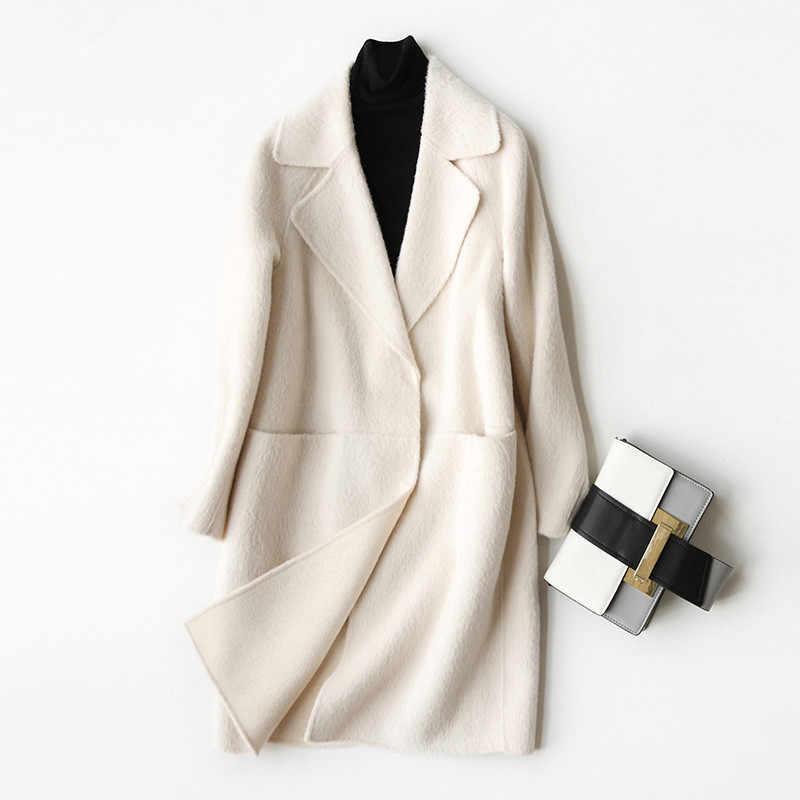 AYUNSUE 2019 Wolle Mantel Frauen Mode Herbst Winter Kaschmir Mantel Weibliche Drehen Unten Kragen Jacken Mantel casaco feminino 37029