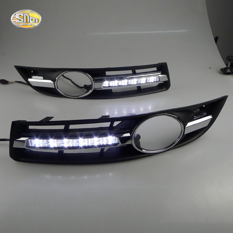 SNCN LED Daytime Running Lights for Volkswagen Vw Passat B6 2007 2008 2009 2010 2011 DRL Fog lamp cover driving lights for vw passat b6 2006 2007 2008 2009 2010 2011 pair or left or right led lights drl daytime running lights