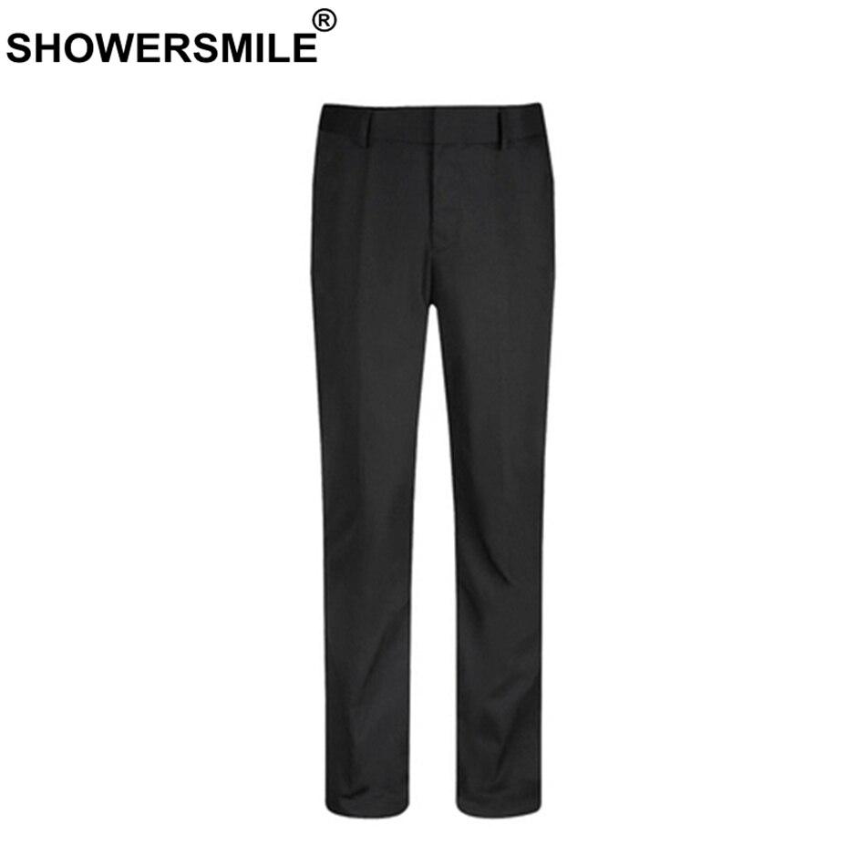 SHOWERSMILE Black Men Dress Pants Slim Fit Spring Autumn Mens Work Suit Pants Bussiness Office Plus Size Wedding Trousers Male