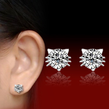 Real 925 Sterling Silver Jewelry For Women Cute Animal Cubic Zircon Cat Earring Stud Small Stud Earring For Girls Wholesale