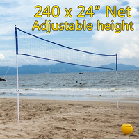 Outdoor Sports Beach Volleyball Net Set Adjustable Posts With Volleyball Pump Storage Bag Volleyball Training Equipment