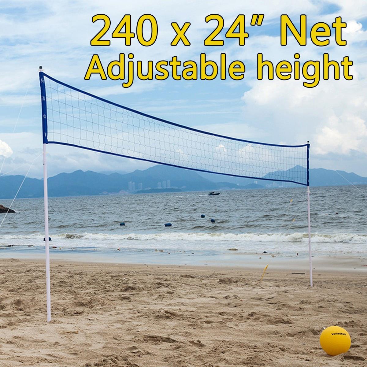 цена на Outdoor Sports Beach Volleyball Net Set Adjustable Posts With Volleyball Pump Storage Bag Volleyball Training Equipment