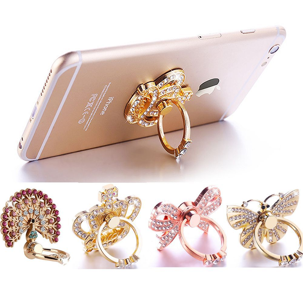 Mobile Phone Finger Ring Holder Cell Phone Stand Tablet Universal Support Diamond Crown Peacock Butterfly Phone Ring SMSNXY
