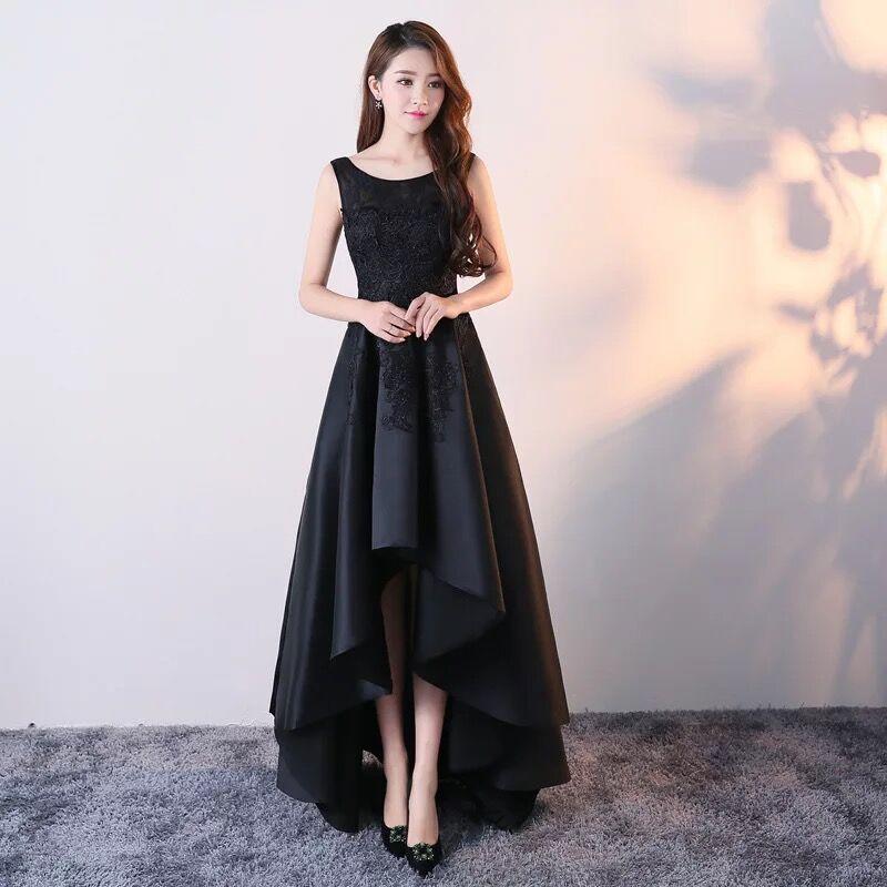Nouveau noir/rose/rouge argent Top Appliques dentelle robes de bal 2019 haut bas Long Satin soirée robe formelle robe de soriee