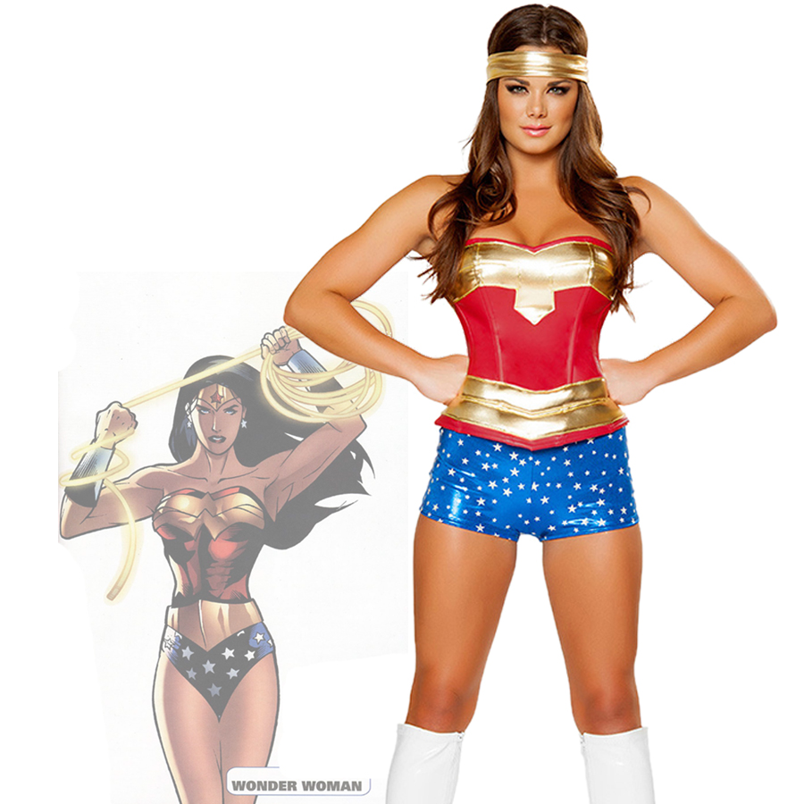 Fancy Cos Super Girl Ladies Wonder Woman Costume Suit -3874