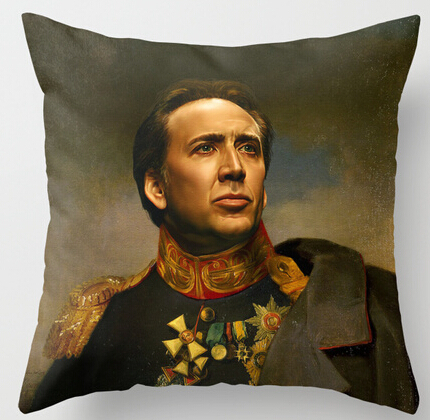Hot Selling Nicolas Cage Replaceface Customized Zippered Square Throw Pillowcase Zippered Pillow Sham Protector