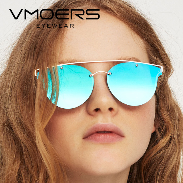 c2d6a5e7cc VMOERS Ladies Pink Mirror Sunglasses Women Cat Eye Fashion 2017 Shades Sun  Glasses For Women Brand Designer Style Oculos Female