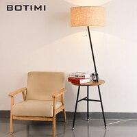 BOTIMI Гостиная торшер со встроенным лоток постоянный свет для дома деко чтения luminaria де меса ткань светильники