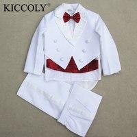 e7e90743d 2017 New Boy Baby Formal Wedding Clothing Set Tuxedo Kid 5 Piece Suit Coat  Girdle Shirt
