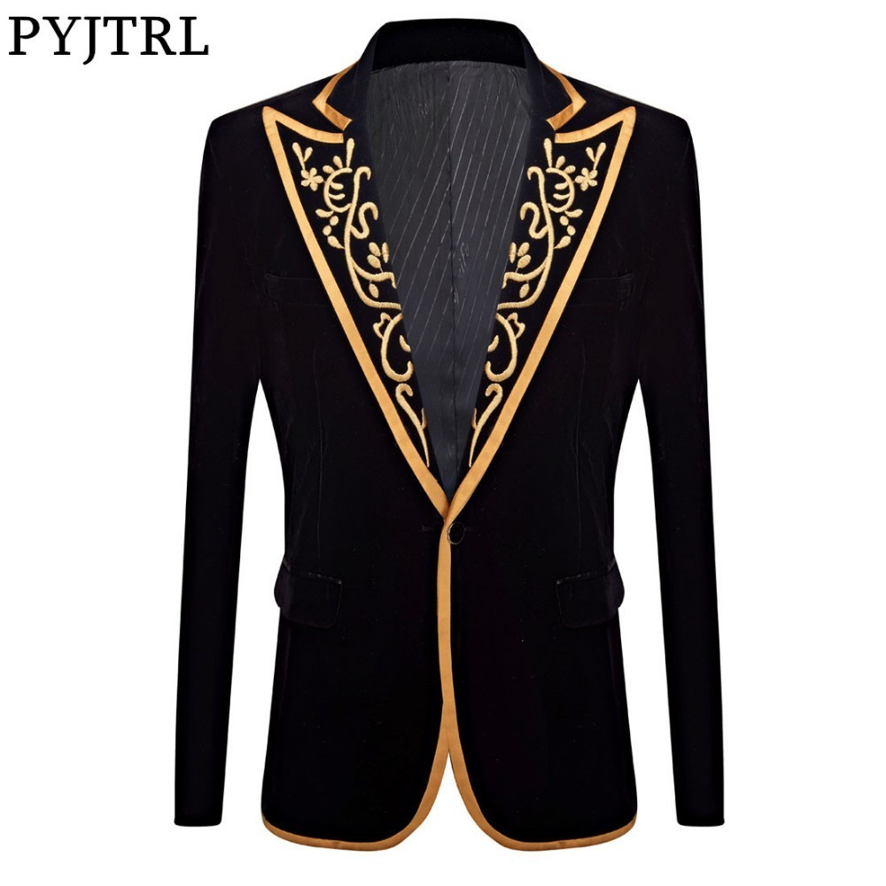 PYJTRL New Mens Fashion Royal Court Prince Black Velvet Gold Embroidery Blazer Wedding Groom Slim Fit Suit Jacket Singer Costume