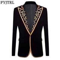 PYJTRL New Mens Fashion Royal Court Prince Black Velvet Gold Embroidery Blazer Wedding Groom Slim Fit Suit Jacket Singer Costume Men Blazers