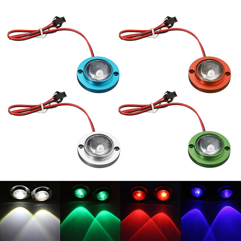 2Pcs Car Motorcycle LED Strobe Flash Warning Light Brake Tail Light Spotlights Fish Eye Lens Lamp Blue/Green/Red/Silver 2pcs purple blue red green led demon eyes for bixenon projector lens hella5 q5 2 5inch and 3 0inch headlight angel devil demon
