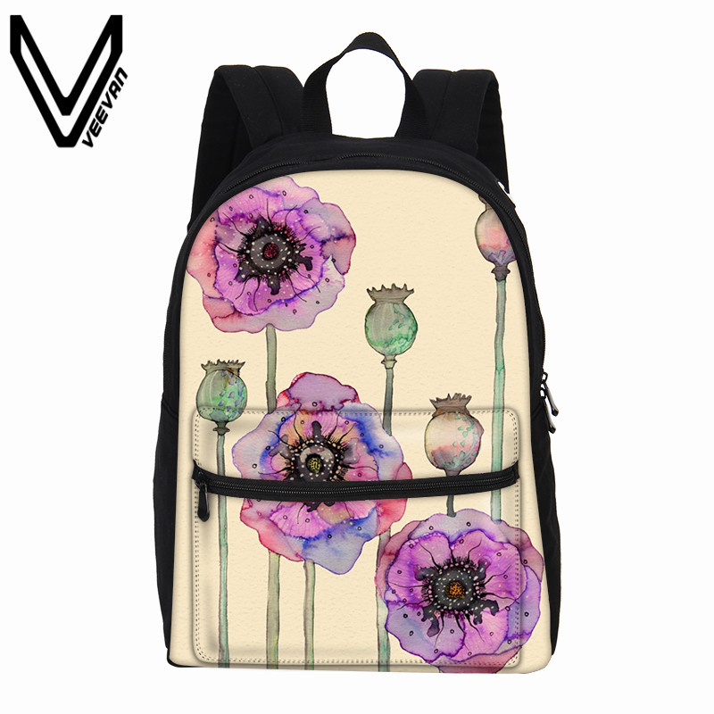 VEEVANV New Cartoon Printing Canvas Backpack Female Mochila Teenagers Shoulder Bag Watercolour Children Bookbag School Backpacks veevanv brand school backpacks children shoulder bags dragon pattern printing backpack fashion mochila boys casual daily bag new