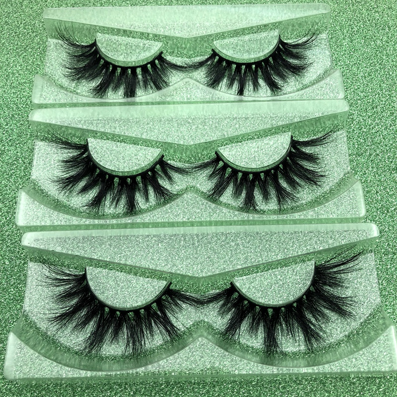 Mikiwi D384 3D Mink Eyelashes Popular Long Thick Mink Lashes Acrylic Case Volumn Individual Dramatic 20mm Length Lashes