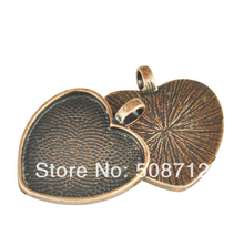Free Ship!!! 30pcs1inch (25mm) heart glass pendant setting, blank, trays - Antique Copper