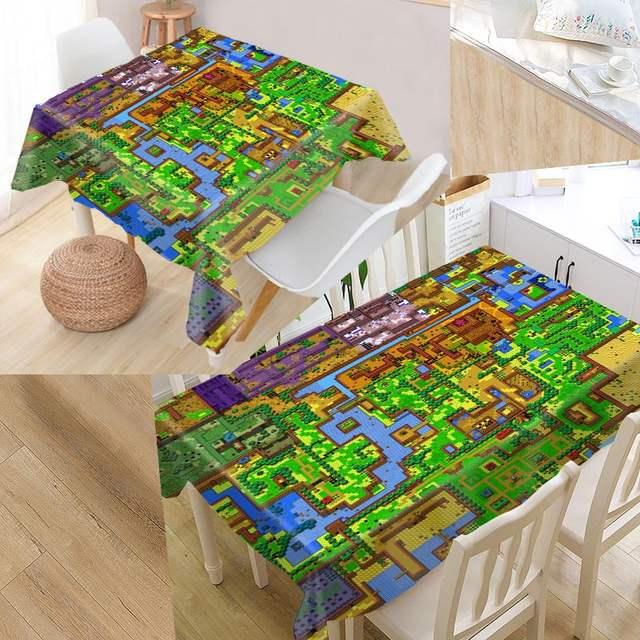 Legend Of Zelda Map 02 Custom Table Cloth Oxford Fabric Rectangular on