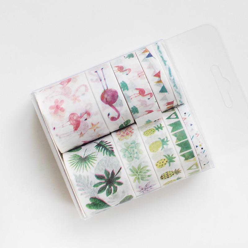 Flamingo Washi Tape 10 Pcs Flower Masking Tape Cartoon Stationery Kawaii Papelaria Wash Stickers Scrapbooking Washitape