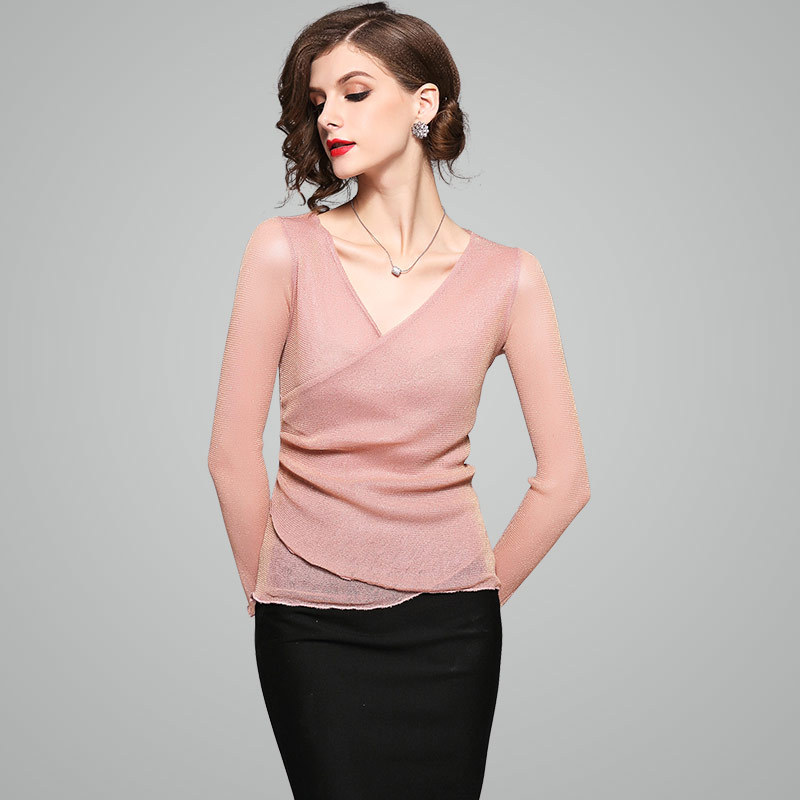 2018 Spring And Summer Fashion New V Collar Long Sleeves Pure Color And Thin Temperamental T - Shirt Women Summer Clother