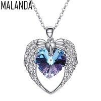 Malandaファッション天使の翼ハート形のペンダントネックレス用女