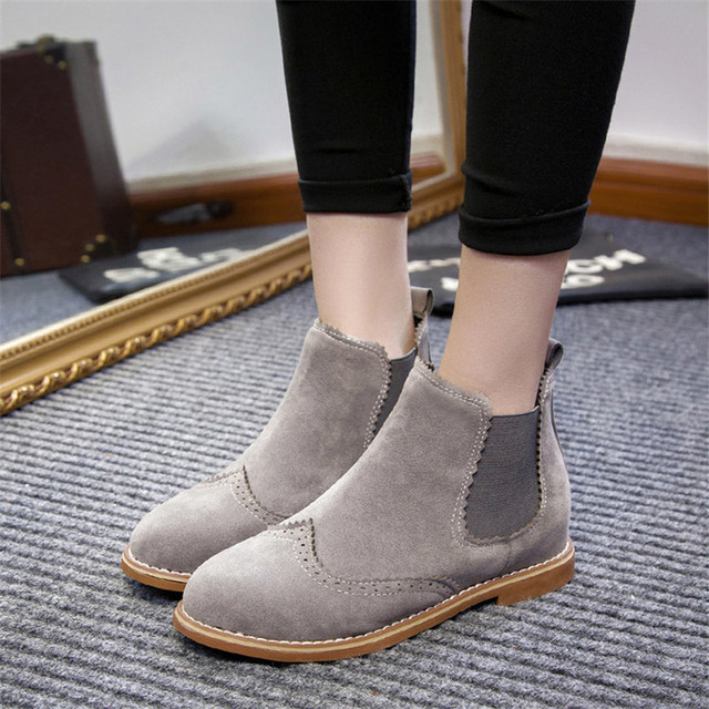 COOTELILI Brand Women Ankle Boots Flat Heels Shoes Woman Suede Leather  Boots Brogue Cut outs Slip a1c2befc16e