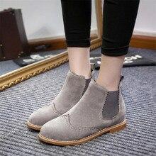 Designer Marke Frauen Stiefeletten Wohnung Heels Schuhe Frau Wildleder stiefel Brogue ausschnitte Beleg auf Schwarz Grau Plus Größe 40