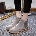 Diseñadores Marca Tobillo de Las Mujeres Botas Planas de Los Talones Zapatos de Mujer de Cuero de Gamuza botas Brogue recortes Slip on de Talla grande Gris Negro 40