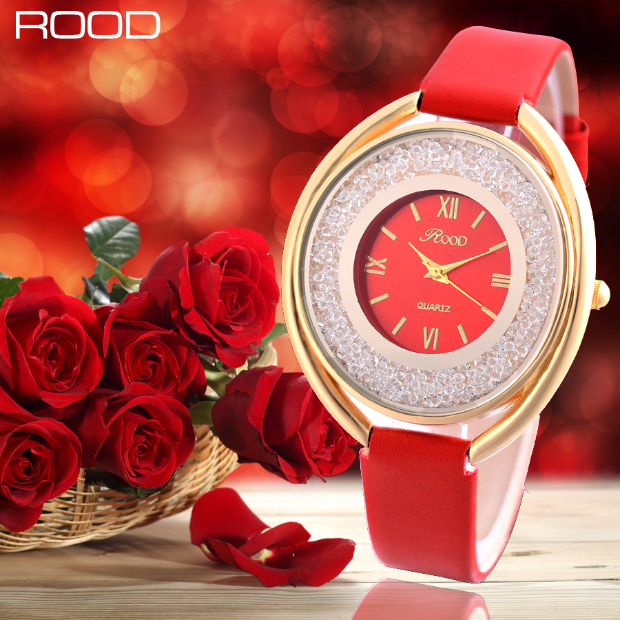 Lady Wrist Watch Quartz Woman Hours Best Fashion Dress Bracelet Leather Multicolored Crystal ROOD Brand Oval Case Watches Girl