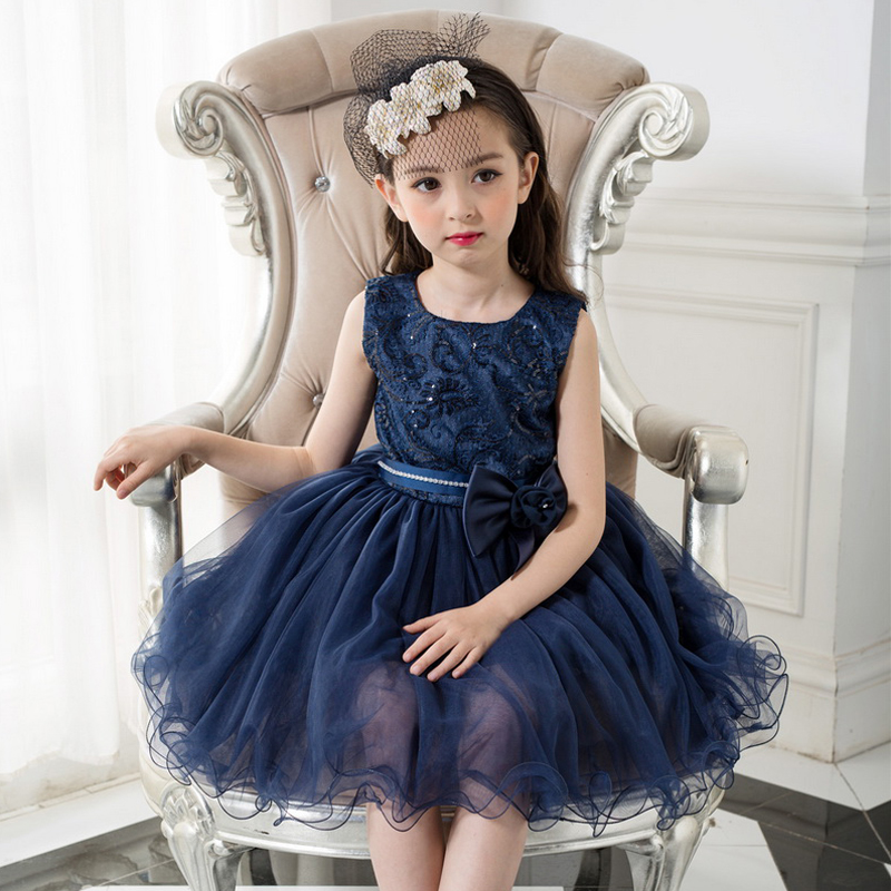 Brand Girls Dresses for Party and Wedding 2019 Navy Blue Lace Flower Girl Princess Costume With Sequins Kids Dress