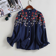 Winter Women New Floral Shirts Autumn Long-sleeved Embroidered Flowers Girls Sweet Cotton Shirts Good Quality New Design