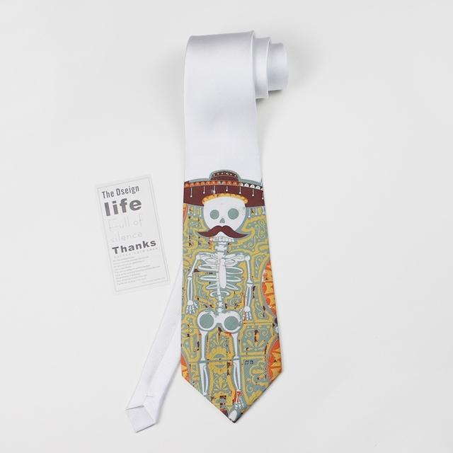 2016 hombre impresión boda mariage kravat diseñador corbatas de seda corbata de moda casual masculina delgada corbata cráneo novedad desgaste del cuello