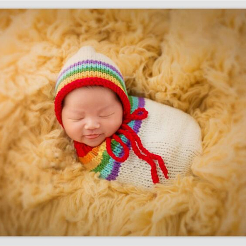 Newborn Photography Props Baby Hat Girl Boy Beanies Crochet Knit Costume Bear and Baby Cap Infant photography accessories Props