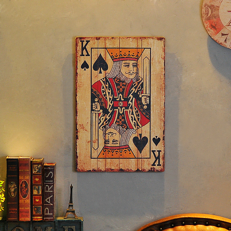 1 pièces nouveau rétro vent industriel en bois cartes à jouer 40 cm * 1 cm * 60 cm - 5