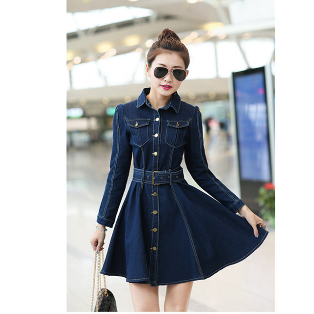 Women Spring Summer Long Sleeve Slim Denim Dresses Female Casual Lapel Solid Color Button Cardigan A Line Jeans Dress Miniskirt 1