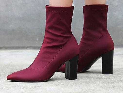 Baimier Stretch Fabric Wine Red Women Sock Boots Pointed Toe Slip On Ankle Boots For Women High Heel Women .