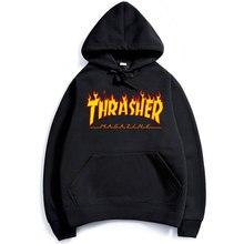 Thrasher громила пламени brand clothing пуловер хип-хоп толстовка скейтборд человек толстовки