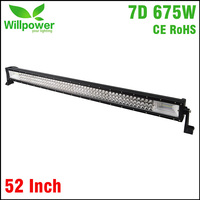 NEW 52 Inch 675W three rows combo beam 4x4 truck tractor car straight led light bar offroad 7D
