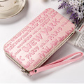 New Women's Long Wallets Letters Pattern LunchBox Shape Soft Iron Edge Hand Rope Mobile Phone Bags Card Holder Coin Purse Wallet