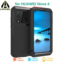 LOVE MEI Luxury Aluminum Metal Case For Huawei Nova 4 Phone Cover Shockproof Life Waterproof Powerful With Tempered Glass Film